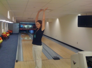 Erin after getting a strike bowling at the White House